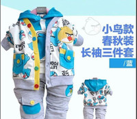 Boy Spring / Autumn Hooded Wholesale-baby 3pcs outfits infants hoodie + pants + coat cartoon clothing set toddlers spring autumn suit boys girls casual wear garment