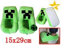Wholesale My world Minecraft Creeper JJ worm shoes green slippers cartoon for men and women Chirldren TT36122084268 H