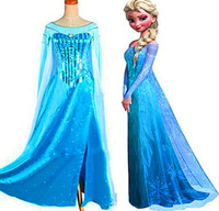 Reference Images Girl Beads Hot ! Frozen Snow Queen Elsa Costume Custom Size For Adult And Kids Princess Dresses Blue Sequined Cosplay Costume Girl's Pageant Dresses