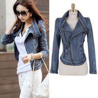 denim jackets women - Stylish Winter and Autumn High Street Denim Jacket Women Punk People Vintage Zipper Short Coat