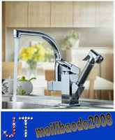 Single Handle kitchen faucet spray - Multifunctional Two Spouts With Shower Spray Brass Pull Out And Swivel Chrome Finish Kitchen Sink Faucet Mixer Tap HSA0687