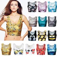 women crop tops - Hot Sale Cool Types European Sexy Camisole Women s D Print Crop Tops Suit Top Short Vest Tank Tops SV005601