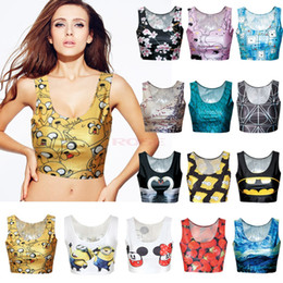 Wholesale Hot Sale Cool Types European Sexy Camisole Women s D Print Crop Tops Suit Top Short Vest Tank Tops SV005601