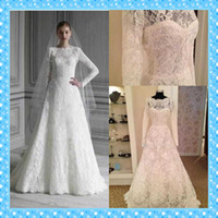 Cheap A-Line a line wedding dresses Best Reference Images Jewel bridal gowns long sleeve