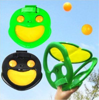 Wholesale Hand Ball Table Tennis Raquet Tennis Ball Sets Outdoor Sports Frog Prince Spitting handball family Fun game Ball Kid s Best Christmas Gift