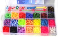 Charm Bracelets Bohemian Children's 1set rainbow loom storage box Rubber loom Bands Kit for Kids & Adults 4200pcs colorful bands set