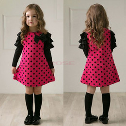 Wholesale Winter For Years Old Baby Girl Long Sleeve Dots Bowknot Party Dress Cute Child Mini A Line Dress