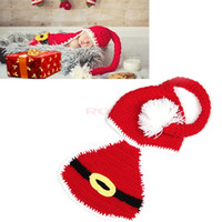 baby santa - New Arrival Christmas Photography Newborn Infant Santa Outfits Props Crochet Knitted Wool Hat Baby Beanie
