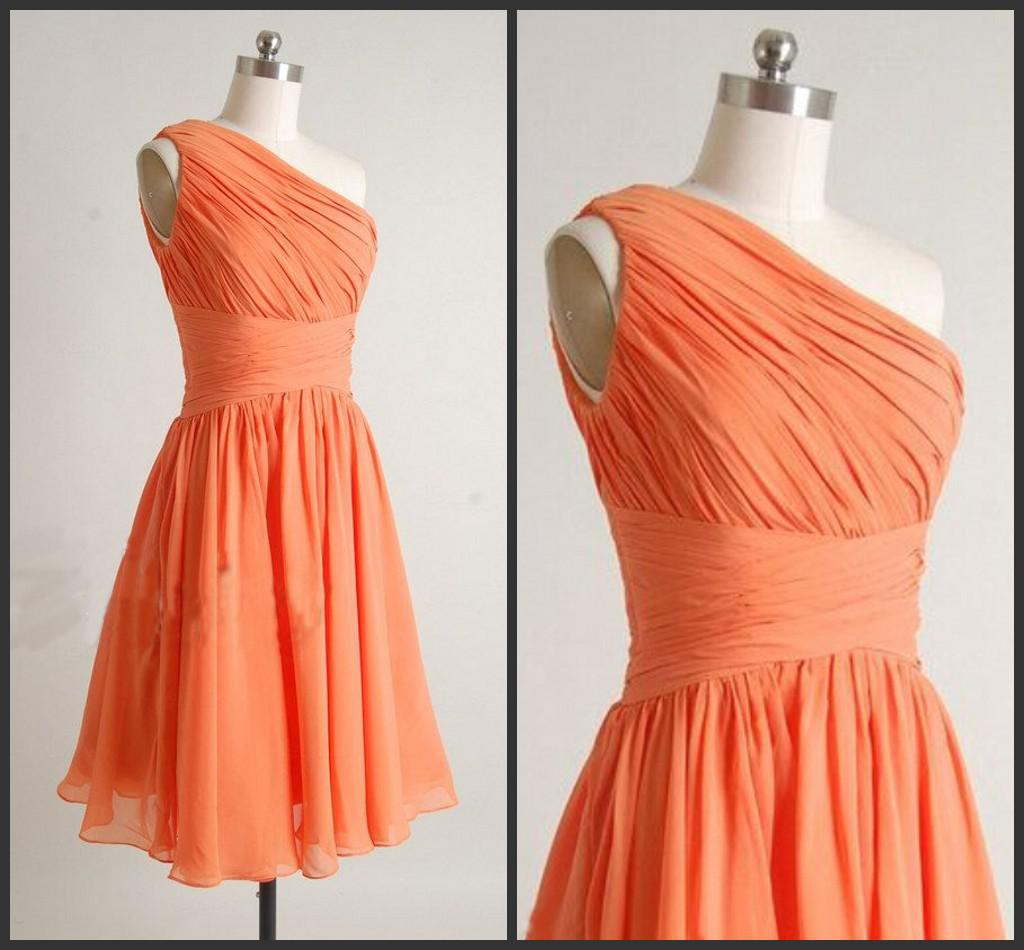 Orange Yellow Bridesmaid Dresses Short Simple One Shoulder Coral ...