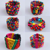 Bangle Unisex K0706-K0711 1PCS Promotion Gift Ladies Men Fashion Colorful Wooden Beads Charm Multilayer Bracelet Bangle 6 Style to Choose Free Shipping