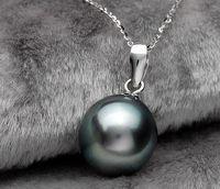 akoya pearl pendants - Natural AAA mm black akoya round pearl necklace inch925