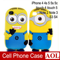 Wholesale 3D Cute Cartoon Despicable Me Minions Soft Silicon Case Cover For iphone s samsung itouch itouch note2 note s3 s4