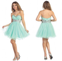 Wholesale Light Sky Blue Hot Sexy Sweet Dresses Sweetheart Sleeveless A Line Short Beads Rhinestones Organza Homecoming Dress Party Cocktail Dress