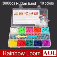 Wholesale Rainbow loom kit clear plastic box for Kids DIY bracelets with rubber bands clips loom hook PVC Charms