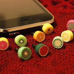 Discount cute anti dust cap Wholesale 1000pcs Cute Fruit Anti Dust Plug for Iphone and 3.5mm Earphone Cap for Mobile Phone Free Shipping