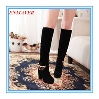 Wholesale ENMAYER new Fashion Winter high heels Over the knee Chains platform boots pumps motorcycle boots Wedding Snow Boots