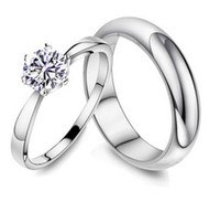 Wholesale Rhinestone Fashion Jewelry silver Lovers Rings Platinum Ring With Austria Crystal Gemstone Rings Costume Rings