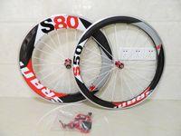 Road Bikes sram red - Sram S80 Clincher Carbon Wheels mm Red Alloy Brake Surface Carbon Fiber Wheelset