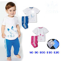 Wholesale Brand name summer infant boys and girls short sleeve striped pink blue t shirt pant kids casual clothes set