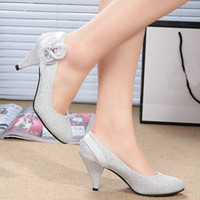 Women Pumps Spring and Fall Cheap price Dress Silver color Flower Shoes Women's high-heeled shoes bride wedding shoes
