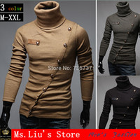Cheap Free Shipping New 2014 Autumn Men's Polo Shirt Oblique Placket Multi-decorative Buttons Fashion Casual Polo 3 Colors Size:M-XXL
