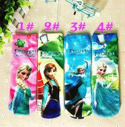 Wholesale Free UPS Frozen Princess Sneaker Socks Anna Elsa Kids Cartoon Ankle Girls Sock Baby Children For Summer Autumn pairs Factory Price