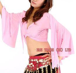 Wholesale 12pcs Tribal Belly Dance Apparel Bra top Ribbon horn sleeves Ladies exercise Dancing Costume Vest t007
