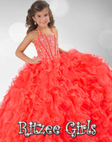 Wholesale 2014 Latest Coral Organza Girl s Pageant Dresses Halter Sleeveless Backless Lace up Crystal Sweep Train Custom Made Ball Gowns