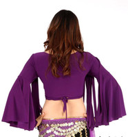 Belly Dancing Ruffled Chiffon Tribal Belly Dance Costume Top Bra V Neck Vest Flared sleeves Ribbon design Ladies Yoga stage Garment t007