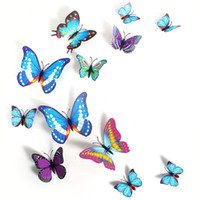 Wholesale 12 pieces D Butterfly Sticker Decal Wall Stickers Art Design Home Decor Room Decorations