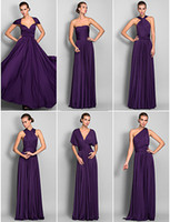 Wholesale Elegant Strapless DIY Convertible Neckline Flowing Chiffon Grape Bridesmaid Dresses Long Prom Dress Sexy Formal Evening Gowns
