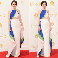 Wholesale Michelle Dockery in Emmy Awards Celebrity Gown Unique Halter Elatic Satin A Line Tiered Backless Party Gowns Celebrities Dresses