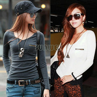 Women V-Neck Regular Fashion Korean Style Women Clothing T Shirt Punk Sexy Tops Tee Clothes Long Sleeve T-Shirt Slim Pure Colors Plus Size # SV007514
