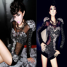 Wholesale Rhinestone Decor Stage Wear Long Sleeve Coveralls Playsuit Jazz Dance Clothing Costumes Gauze See through DJ Songbird Sexy Rompers Jumpsuit