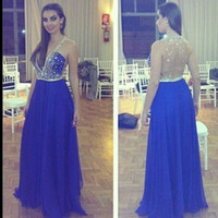 V-Neck rhinestone see through dress - New Sexy Chiffon A Line Prom Dresses With See Through Sheer Crystal V Neck Gorgeous Rhinestones Blue Long Evening Gowns W2127 Fashion