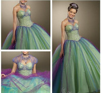 Reference Images Sweetheart Organza Elaborate 2014 Sexy Ball Gown Sweetheart Neckline Beaded Sequins with Crystal Jacket Lace up Floor Length Quinceanera Prom Party Dress SK