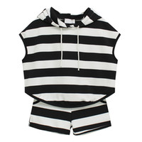 Women Yes Sleeveless Recommended Korea stylenanda new striped hooded sweater shorts sports suit casual loose big yards