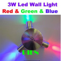 Clear Glass Modern Wall Mouted $15 Off per $150 Epistar Decorate 3W RGB LED Wall Lamp residential Hall light Indoor aluminum Red+Green+Blue by Express 10pc lot