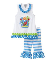 pies - new mud pie style baby show baby girls fish embroided pant set