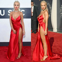 awards - MTV Video Music Awards Celebrity Dress Rita Ora in Carpet Sheath Spaghetti Straps Taffeta Sexy Slit Backless Celebrities Dresses