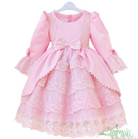 wedding dresses lot - 2014 Autumn Children Wedding dress Princess Dress Girl Bowknot Lace Long Sleeve Dresses Kid Dresses D143D8