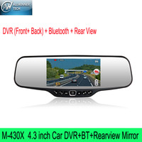 Wholesale M X Car DVR BT Rearview Mirror Recorder Car camera HD Digital Panel Dual Lens Built in G sensor Support bluetooth hands free English