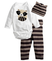 Unisex animal pants - 2016 New cotton baby boys girls clothing set Long sleeved baby suit Romper pants hat lovely baby clothes