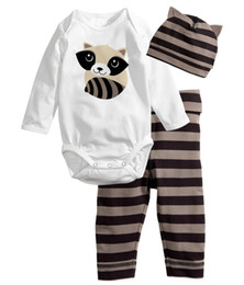 Wholesale 2016 New cotton baby boys girls clothing set Long sleeved baby suit Romper pants hat lovely baby clothes