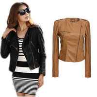 women winter leather jacket - 2014 New Fashion Autumn Winter Women Cool Brand Faux PU Leather Jackets Pu Black Blazer Zippers Coat Motorcycle Outerwear High Quality