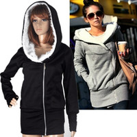 Wholesale 2014 new women s hooded jacket warm coat hooded zip gray black blue pink fashion special
