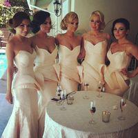 Reference Images Satin Floor-Length Hot Sale 2014 Mermaid Bridesmaid Dresses Elegant Sweetheart Zipper Floor Length Sweep Train Satin Peplum Bridesmaid Gowns B029