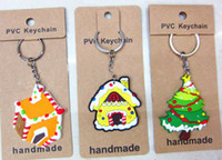 Wholesale Silicone Christmas Santa Claus Keychains PVC Keychain for Christmas Gifts Christmas Party Decorations Keyring shaped with Shoe House Tree