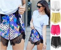 Wholesale 2016 women summer beachwear shorts shorts lace pom pom shorts hot pants England Style Fashion Navy Blue female Short Mini Spring Casual