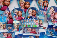 Wholesale 142pcs Frozen Birthday Party Kit for people decoration supplies favors plates cups straws Frozen Theme Children decoration set